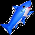Шар (39''/99 см) Фигура, Счастливая акула, Синий, 1 шт.